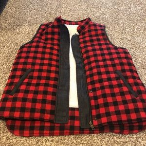 NWT Red and Black Flannel Vest